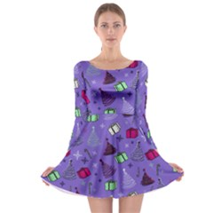 Purple Presents Long Sleeve Skater Dress by CoolDesigns