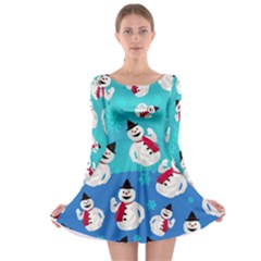 Blue Snowman Long Sleeve Skater Dress by CoolDesigns