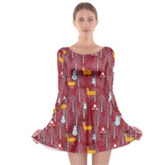 Red Deer Long Sleeve Skater Dress by CoolDesigns