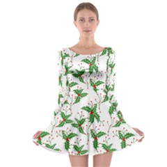 Xmas Leaves Long Sleeve Skater Dress