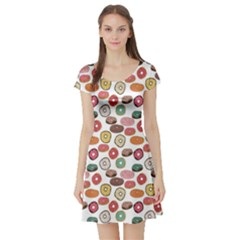 Colorful Donuts Pattern Short Sleeve Skater Dress