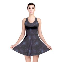 Blue Pattern Constellations Of Hearts On Night Reversible Skater Dress by CoolDesigns