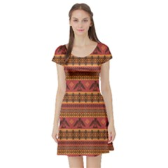 Brown Eagles Ethnic Style Pattern Tribal Native American Short Sleeve Skater Dress by CoolDesigns