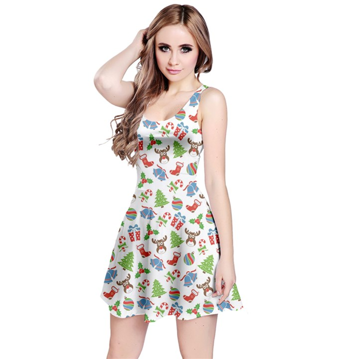Colorful Christmas Pattern Reversible Sleeveless Dress