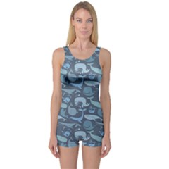 Blue Cute Doodle Blue Whales Marine Seamless Boyleg One Piece Swimsuit by CoolDesigns