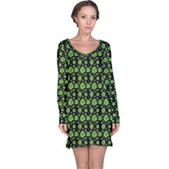 Green Shamrock Pattern Black Long Sleeve Nightdress by CoolDesigns