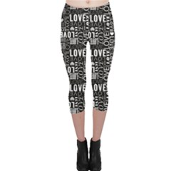 Black Love Heart Shape Pattern Capri Leggings by CoolDesigns