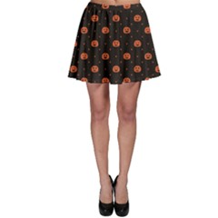 Black Black D Polka Dots Pattern With Halloween Pumpkin Skater Dress