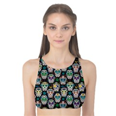 Black Day Of The Dead Sugar Skull Tank Bikini Top by CoolDesigns
