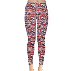 Red Pattern Of British Flag Leggings