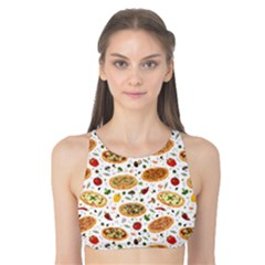 Colorful Pattern With Different Pizza And Spices Tank Bikini Top by CoolDesigns