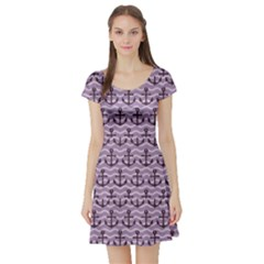 Purple With Sea Anchors Stylish Design Short Sleeve Skater Dress by CoolDesigns