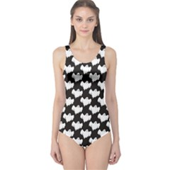 Black Night Flying Ghost Halloween Pattern On Black Women s One Piece Swimsuit by CoolDesigns