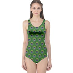 Green Peacock Feathers Women s One Piece Swimsuit by CoolDesigns