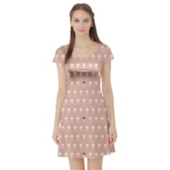 Pink Repeat Pattern With Ice Cream Cones In Pastel Pink Short Sleeve Skater Dress by CoolDesigns