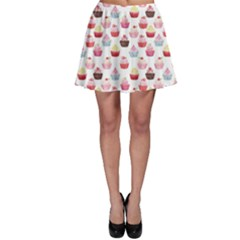 Pink Watercolor Cupcakes Pattern Hand Drawn Skater Dress by CoolDesigns