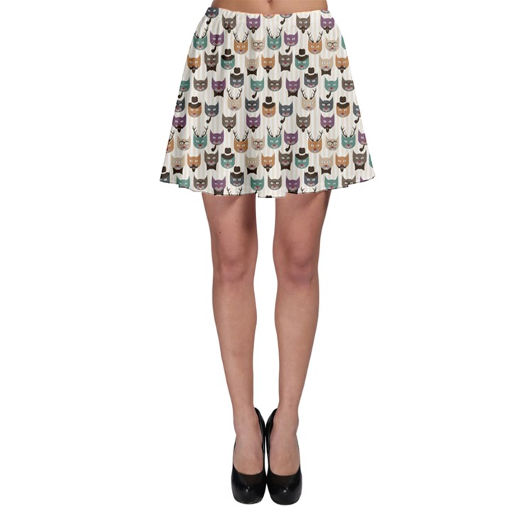 Colorful Pattern With Colored Cats Skater Skirt