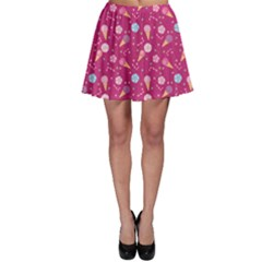 Red Pattern Of Sweets Ice Cream Candy Skater Skirt by CoolDesigns