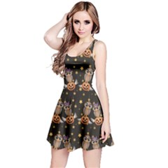 Black Halloween Two Cartoon Owls With Pumpkins Sleeveless Dress by CoolDesigns