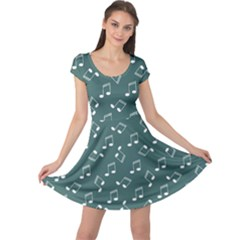 Green Music Elements Notes Gray Pattern Cap Sleeve Dress