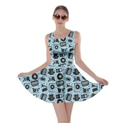 Blue Black Radio Cd Player Music Pattern Skater Dress by CoolDesigns