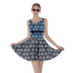 Blue Pattern With Outline Vintage Bicycles Skater Dress by CoolDesigns