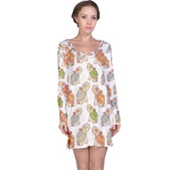 Colorful Indian Elephant Pattern Long Sleeve Nightdress