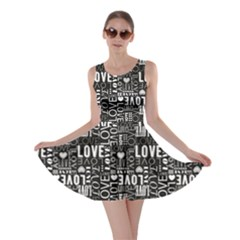 Black Love Heart Shape Pattern Skater Dress by CoolDesigns