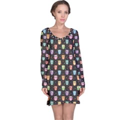 Black Pattern With Colorful Owls On Dark Long Sleeve Nightdress by CoolDesigns