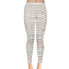 Nude Snake Skin Texture Pattern White Leggings by CoolDesigns