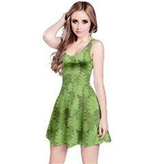 Green Green Leaves Repeating Pattern Reversible Sleeveless Dress by CoolDesigns