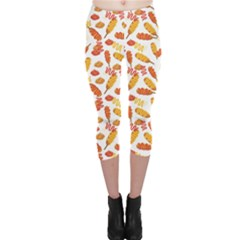 Colorful Corn Dog With Ketchup And Mustard Seamless Capri Leggings by CoolDesigns