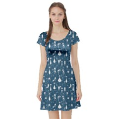 Teal Cat Short Sleeve Skater Dress by CoolDesigns