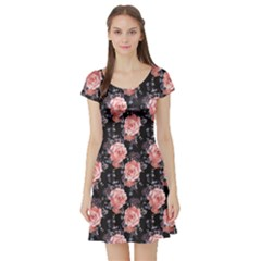 Black Roses Vintage Floral Short Sleeve Dress