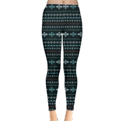 Turquoise Aztec Tribal Chevron Stripes Leggings by CoolDesigns