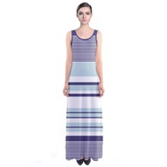 Light Blue Stripes Sleeveless Maxi Dress by CoolDesigns