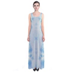 Light Blue Tie Dye Sleeveless Maxi Dress by CoolDesigns