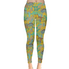 Yellow Dinosaur Leggings  by CoolDesigns
