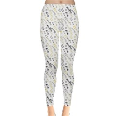 Gray Wallpaper With Music Notes Women s Leggings