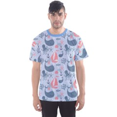 Blue Pattern With Cute Whales Sailing Octopus Men s Sport Mesh Tee