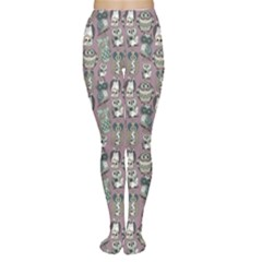Gray Owl Pattern Women s Tights