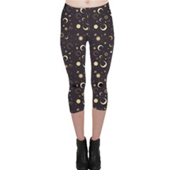Black A Fun Night Sky The Moon And Stars Capri Leggings by CoolDesigns