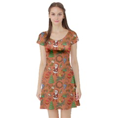 Colorful Winter Christmas Sketchy Pattern Short Sleeve Skater Dress by CoolDesigns