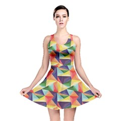 Colorful Triangle Pattern Geometric Abstract Texture Reversible Skater Dress