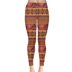 Brown Eagles Ethnic Style Pattern Tribal Native American Leggings by CoolDesigns