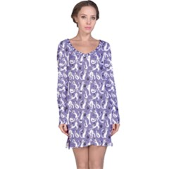 Blue Pattern With Cute White Cats Long Sleeve Nightdress by CoolDesigns