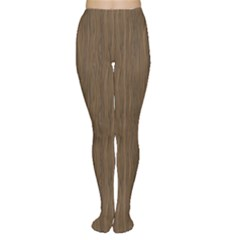 Brown Abstract Flat Wooden Texture Wooden Pattern Tights by CoolDesigns