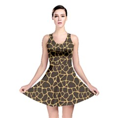 Brown A Brown And Yellow Giraffe Spotted Repeatable Reversible Skater Dress