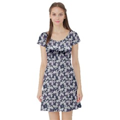 Blue Violet White Floral Pattern Silhouettes Butterflies Short Sleeve Skater Dress