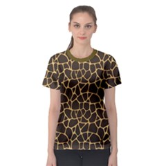 Brown A Brown And Yellow Giraffe Spotted Repeatable Women s Sport Mesh Tee